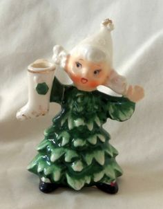 Vtg Figurine Christmas Pixie Elf Girl Tree Dress Spaghetti Japan 2400