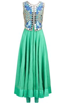 Aqua anarkali set with mirror work falisa vest available only at Pernia's Pop-Up Shop.