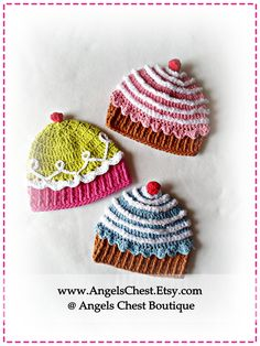 Crochet CUP CAKE Hat PDF Pattern Sizes Newborn to Adult Boutique Design - No. 32 by AngelsChest. Thanks Snelson Snelson Nelson for sharing! Bonnet Crochet, Crochet Baby Hats, Crochet Beanie, Crochet For Kids, Crochet Hooks, Knitted Hats, Knit Crochet, Free Crochet, Crochet Crafts
