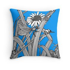 Insects Blue Original Art Cushion Cover By by BelladonnaFineArt