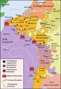 Mapa que muestra el avance francés durante la Guerra de Devolución.