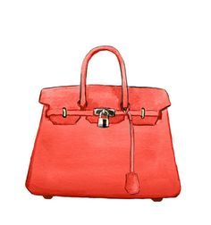 Watercolor Handbag Fashion Illustration, Hermes Birkin Handbag, Art Print, Birkin Bag Red Color. $10,00, via Etsy.