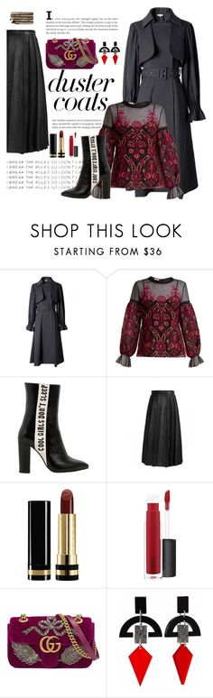 """black and red"" by imariayang on Polyvore featuring Oscar de la Renta, Havva, Gucci, John Lewis, Toolally, Collections by Hayley, trend and DusterCoats"