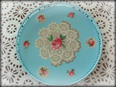 Aqua Vintage Metal Tray Decoupaged With Roses by theshabbychateau, $27.00