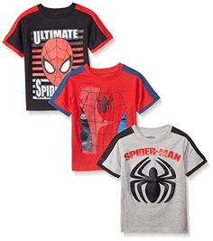 Marvel Little Boys' 3 Pack Spiderman T-Shirts, Gray, 3 pack Spiderman tees with soft hand feel screen-print New Spiderman Suit, Spiderman Outfit, Kids Spiderman Costume, Spiderman Shirt, Black Spiderman, Boys Shirts, Tee Shirts, Tees, Miles Morales Spiderman