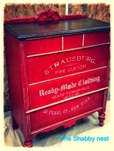 American Paint Company Firework Red, Dark Wax and The Graphics Fairy Made This Dresser By The Shabby Nest Gorgeous - Featured on Furniture F...