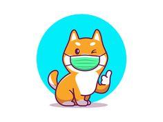 Cartoon Icons, Cartoon Dog, Cartoon Styles, Shiba Inu, Cute Animal Illustration, Animal Illustrations, Japanese Dogs, Dog Icon, Animal Masks