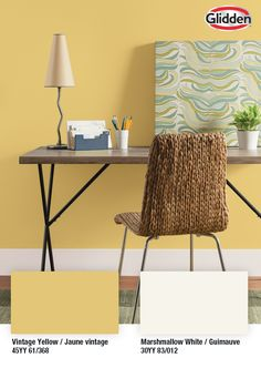 A fresh coat of paint goes a long way. This gorgeous golden yellow paint from Glidden is the perfect inspirational shade for your home office. Interior Paint, Interior And Exterior, Garage Floor Finishes, Yellow Office, Furniture Scratches, Paint Supplies, Yellow Painting, Paint Colours, Golden Yellow