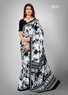 Vibrant White and Black Printed Saree. Be the party bee with this Saree. This saree will keep you comfortable all day long. This saree is quite comfortable to wear and easy to drape as well. This saree comes with matching unstitch Blouse. #saree, #casualsaree, #printedsaree, #wholesalesuppliers http://www.addsharesale.com/