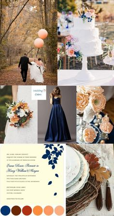Biz's wedding colors Navy Blue Fall Wedding Palette - Navy, peach, light yellow, tan for the summer? Peach Wedding Colors, Wedding Color Schemes, Navy Peach Wedding, November Wedding Colors, April Wedding, Summer Wedding, Wedding Themes, Wedding Styles, Wedding Decorations