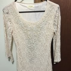 Super cute Ivory Lace Tunic Like new condition..Lace tunic, the body of the dress is lined but the sleeves are sheer.  29'L...I am 5'5 and it comes just to the top of my thighs. c'isa Tops Tunics