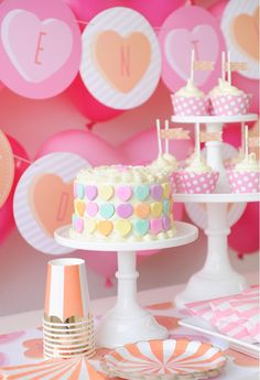 Valentine's Day Party Cake - love the use of conversation hearts on the cake!