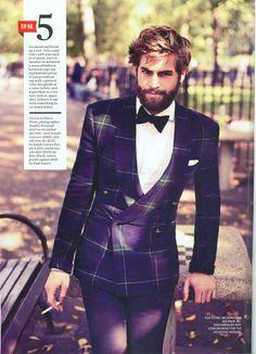 Lucas Flores Piran wearing Ralph Lauren Purple Label tartan blazer, trousers and bow tie in Esquire Magazine.