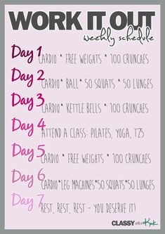 Great weekly workout schedule to work all muscle groups. Cardio and strength training.