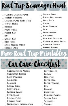 Download these free road trip printables. Stock your car with this car care kit list and play a fun scavenger hunt with your kids!