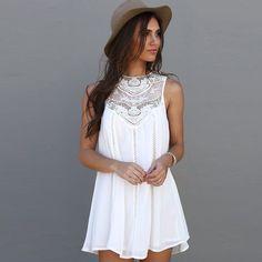 Moda Borla Sólido Branco Mini Vestido de Renda Vestido de Verão 2016 Sexy Mulheres Mangas Casual Praia Curto Vestido Vestidos Plus Size em Vestidos de Moda e Acessórios no AliExpress.com   Alibaba Group