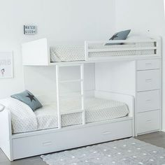 all white bunk bed
