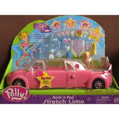 Polly Pocket Rock 'n Pop STRETCH LIMO Car (PINK) LIMOUSINE w SOUNDS, Polly Doll & MORE! (2003): Toys & Games This was one of my favorite toys when i was about 7..i loved Poly Pockets.. I loved how this car, first of all, was pink, played music, could change it's length and had a pool..and it was fun to change Poly's hair. O.o I can't believe it's selling for $125 now....!! Gosh....