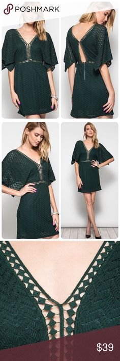 Sea Green Lace Dress with Contrast Trim Sweet and sexy. Be ready to turn heads where ever you go! This lace dress has contrasting trim and open dolman sleeves. There is a sexy plunging v-neck and an open back. The dress is made of 70% cotton and 30% polyester with a 100% polyester lining. The NEW Boutique Dresses