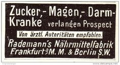 Original-Werbung/ Anzeige 1907 - RADEMANN'S NÄHRMITTEL-FABRIK - FRANKFURT A.M. - Ca.45 X 25 Mm - Werbung