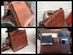Slim leather briefcase handmade gusset bag by LUSCIOUSLEATHERNYC