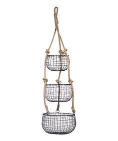 Look at this #zulilyfind! Black Three-Tier Rope Basket #zulilyfinds