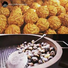 Chestnuts and 'panellets' are the culinary stars of All Saint's Day (1st November) and the evening before. People get together and hold parties where they eat chestnuts - castanyes in Catalan -, panellets - small balls of almond paste coated in pine nuts -, sweet potatoes and other autumnal produce. Bona castanyada!  Picture by @bcn_culturapopular (Instagram)