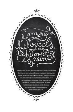 I Am My Beloved's Ketubah Marriage Certificate by sackclothdesign, $25.00