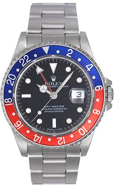Rolex GMT-Master Men's Steel Watch Pepsi Red/Blue Bezel 16700