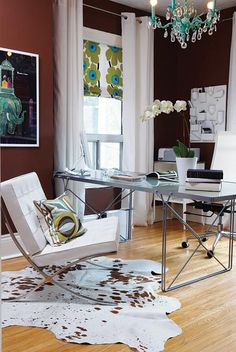 Home office. I love the color combination,Barcelona chair and layout.