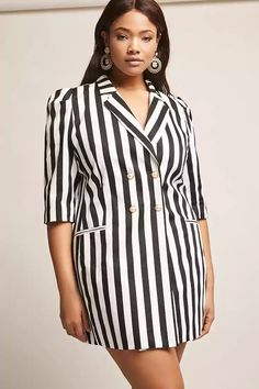 Product Name:Plus Size Stripe Double-Breasted Blazer, Category:CLEARANCE_ZERO, Price:68