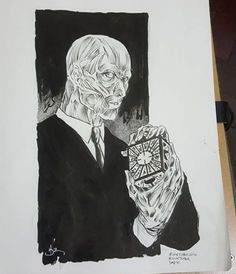Artist daniel hdr, ink art for #inktober2016 of uncle frank from hellraiser