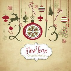 Instant Download 2013 year Digital Clip Art, Happy New Year Clipart, Scrapbooking, ornaments, digital papers Personal and Commercial Use. $4.99, via Etsy.