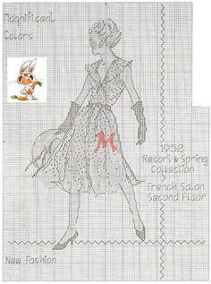 0 point de croix  femme robe 1952 - cross stitch dress 1952 lady  2