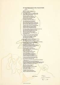 """MY MOTHER WOULD BE A FALCONRESS by Duncan, Robert..  [Berkeley]: Oyez, 1968.. Large folio broadside Hinged at top verso to sheet of stiff board; fine. First edition. Copy """"B"""" of only four lettered copies, signed in full by Duncan, dated """"Feb 7, 1968,"""" and embellished with an original multi-color drawing of a falcon over the body of the text and into the lower left margin, signed again with his monogram.  Listed by William Reese Company - Literature ABAA-ILAB #poetry #broadside #signed"""