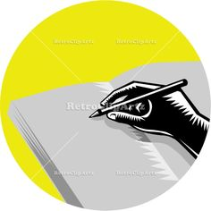 Hand Writing Journal Circle Woodcut Vector Stock Illustration. Illustration of a hand writing in journal set inside circle on isolated background done in retro woodcut style. #illustration  #HandWritingJournal