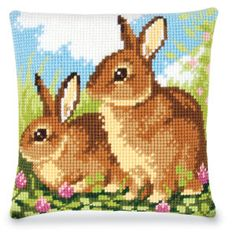 Two Bunnies Quickpoint Pillow Top Kit - Cross Stitch, Needlepoint, Embroidery Kits – Tools and Supplies