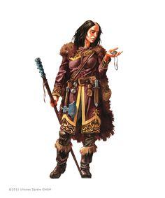Norbardin, in teure Felle gekleidet und mit einem Stecken