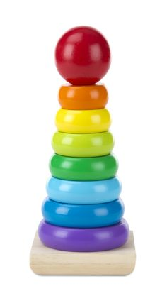 Melissa & Doug Rainbow Stacker: I want one with the rainbow colors in the right order. This one has an added green, and the colors are backwards, but at least they are in the right order.