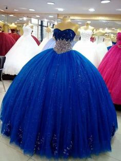 for Blue lovers ! Princess Prom Dresses, Pretty Prom Dresses, Sweet 16 Dresses, Beautiful Dresses, Ball Gown Dresses, 15 Dresses, Cute Dresses, Evening Dresses, Mexican Quinceanera Dresses