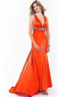 6a22398e746 Orange V-neck Long Floor-length Sequins Bright Prom Dress