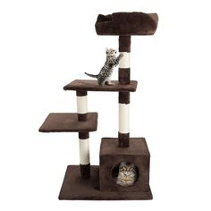 """4 Tier Cat Tree- Plush Multi-Level Cat Tower with Sisal Scratching Posts, Perch Platforms, and Penthouse Condo for Cats and Kittens By PETMAKER (43"""") *** Visit the image link more details. (This is an affiliate link and I receive a commission for the sales) #Doggies"""