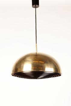 Jo Hammerborg; Brass and Enameled Metal Ceiling Light for Fog & Mørup, 1960s.