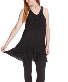 $9.99  Black Embroidered Tunic on #zulily! #zulilyfinds
