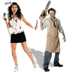 Leatherface and Slasher Star Couples Costume Image Scary Couples Costumes, Homemade Costumes, Scream Queens, Face And Body, Dress Up, Boyfriend, Running, Comics, Stars