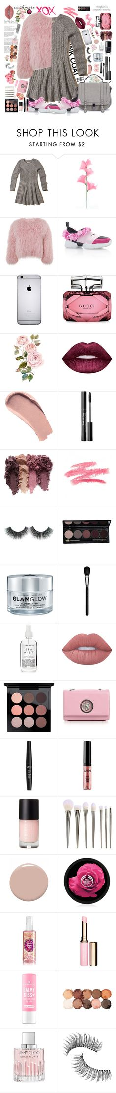 """""""Grey and pink"""" by jooseefiinee ❤ liked on Polyvore featuring GALA, Hollister Co., Charlotte Simone, Gucci, Lime Crime, Burberry, GlamGlow, MAC Cosmetics, Herbivore and Arbonne"""