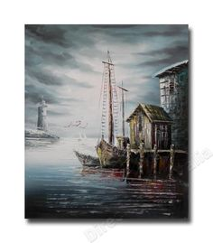 Fisherman's Wharf One - Direct Art Australia , Price: $149.00 100% Oil Painting on Canvas! Not a Print - our artists are professionally trained and use the best oil paints. #seascape #boat #fisherman #art #paintings http://www.directartaustralia.com.au/