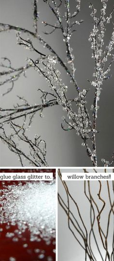 How to make Iced Branches | Click for 28 Easy DIY Christmas Decorations for Home | Easy DIY Christmas Ornaments Homemade