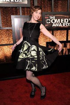 Kristan Schaal in her dinosaur dress