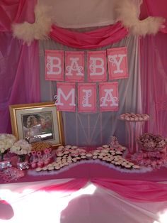 Angel themed baby shower  im thinking more gold white than all the pink and greek letters